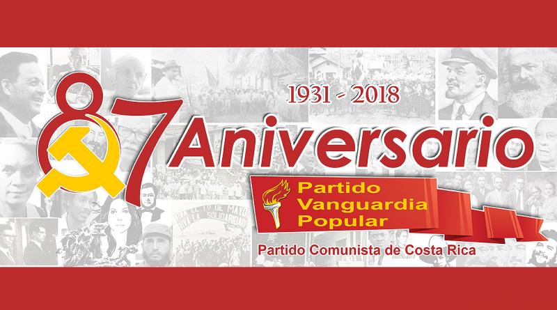 Invitación al Aniversario 87 del Partido Vanguardia Popular