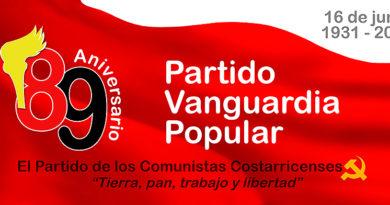 El Partido Vanguardia Popular celebrará 89 años,  ¡Y aquí continuaremos!