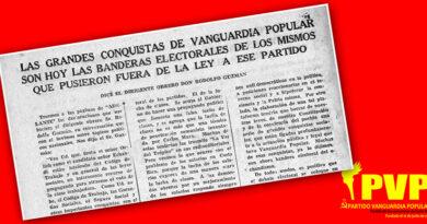 """Rodolfo Guzmán: """"Las grandes conquistas de Vanguardia Popular son hoy las banderas electorales de los mismos que pusieron fuera de ley a ese partido."""""""